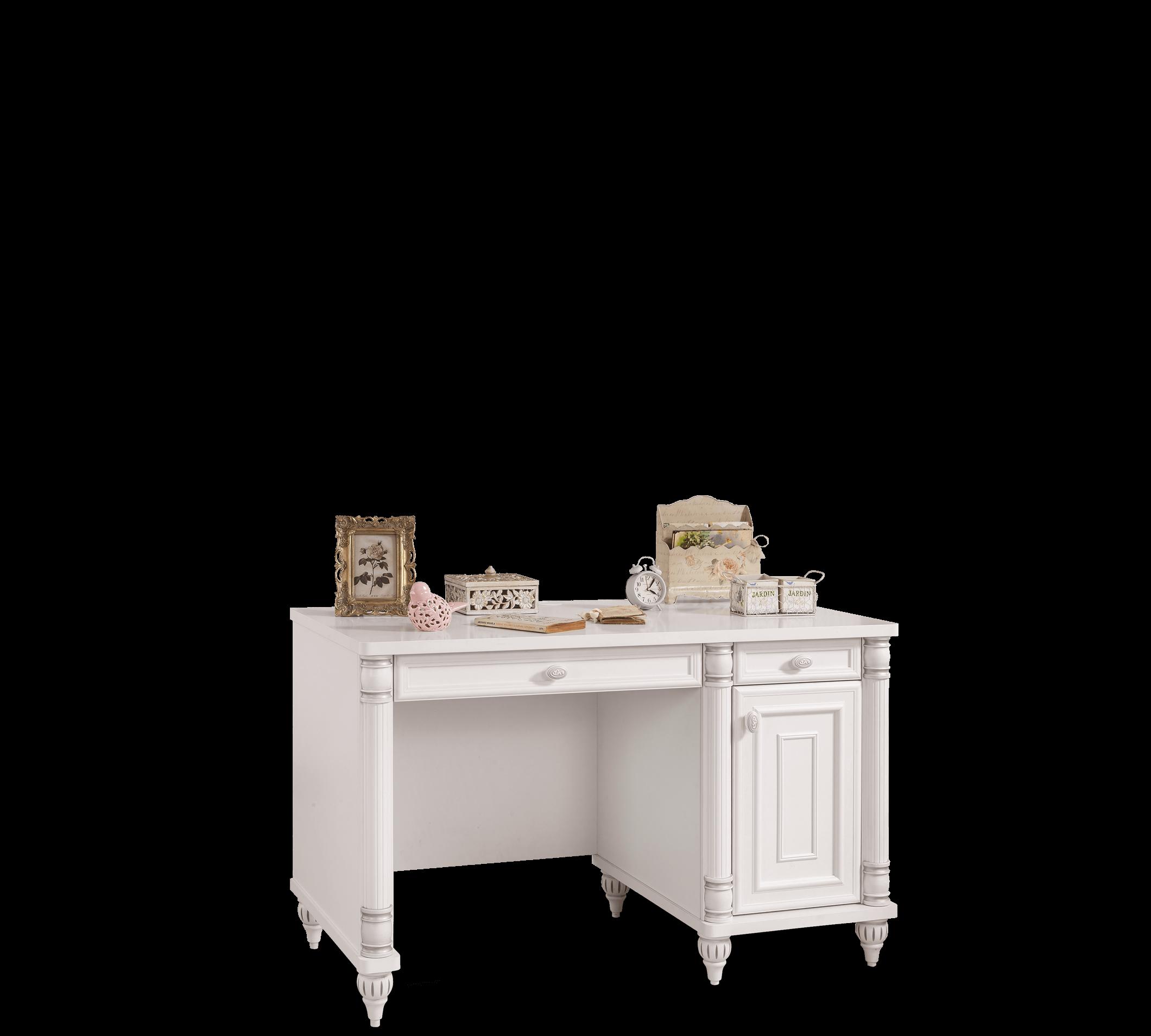 Masa de birou din pal, pentru copii si tineret Romantic Alb, l117xA61xH75 cm imagine