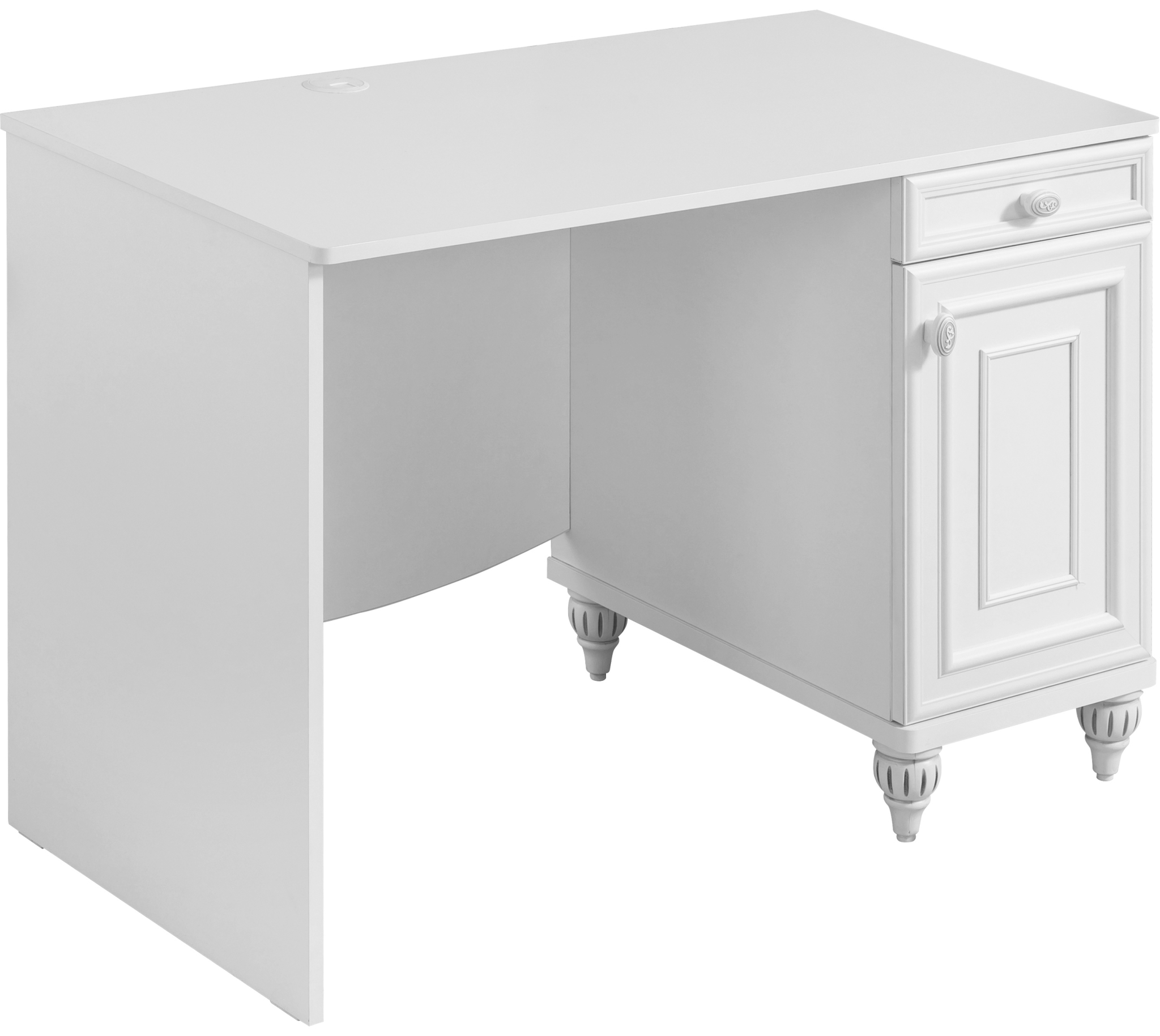 Masa de birou din pal, pentru copii si tineret Romantica White, L106xl62xH75 cm imagine