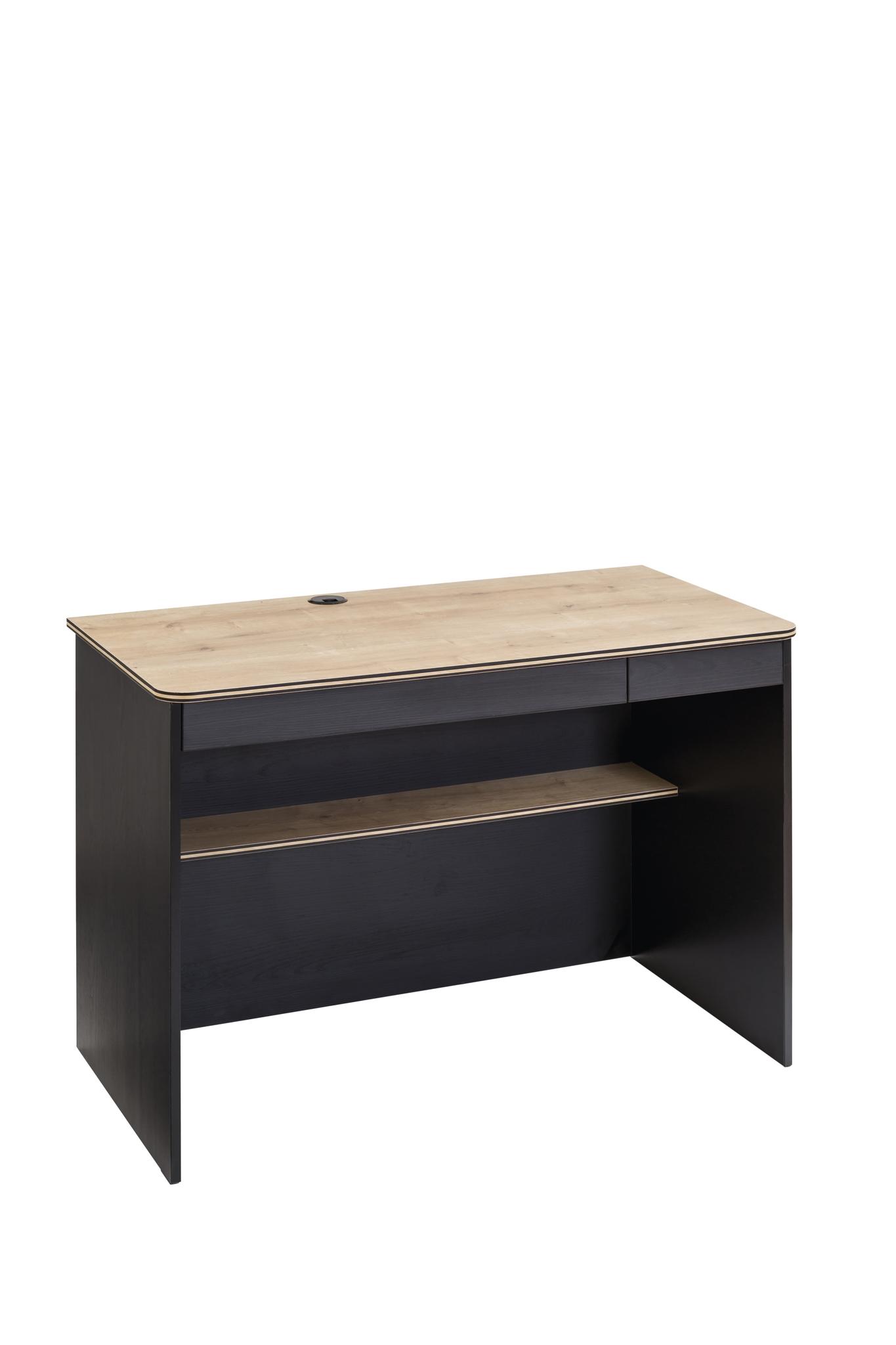 Masa de birou din pal pentru tineret Blacky Black / Nature L110xl58xH75 cm