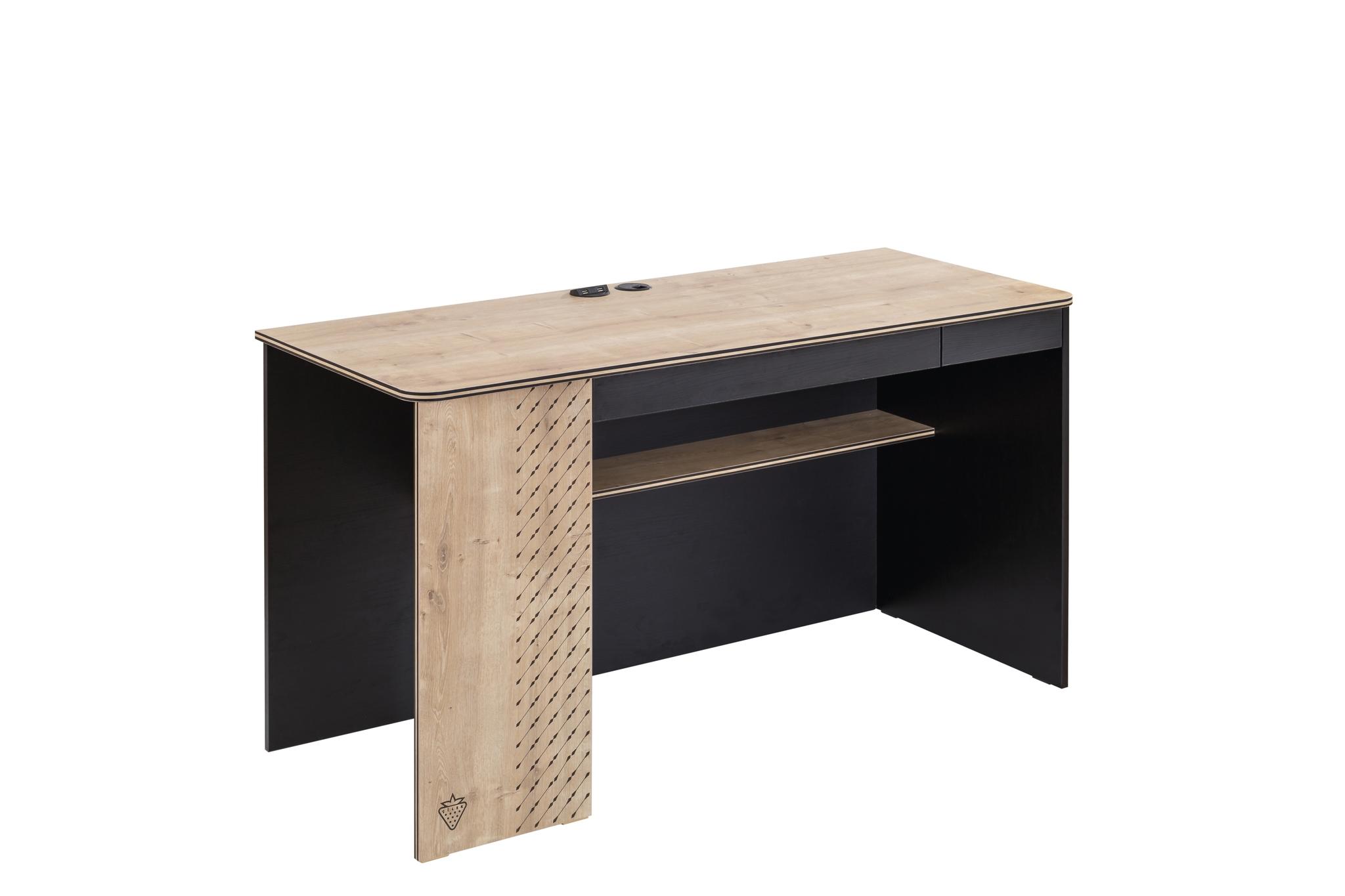 Masa de birou din pal pentru tineret Blacky Black / Nature L138xl58xH75 cm