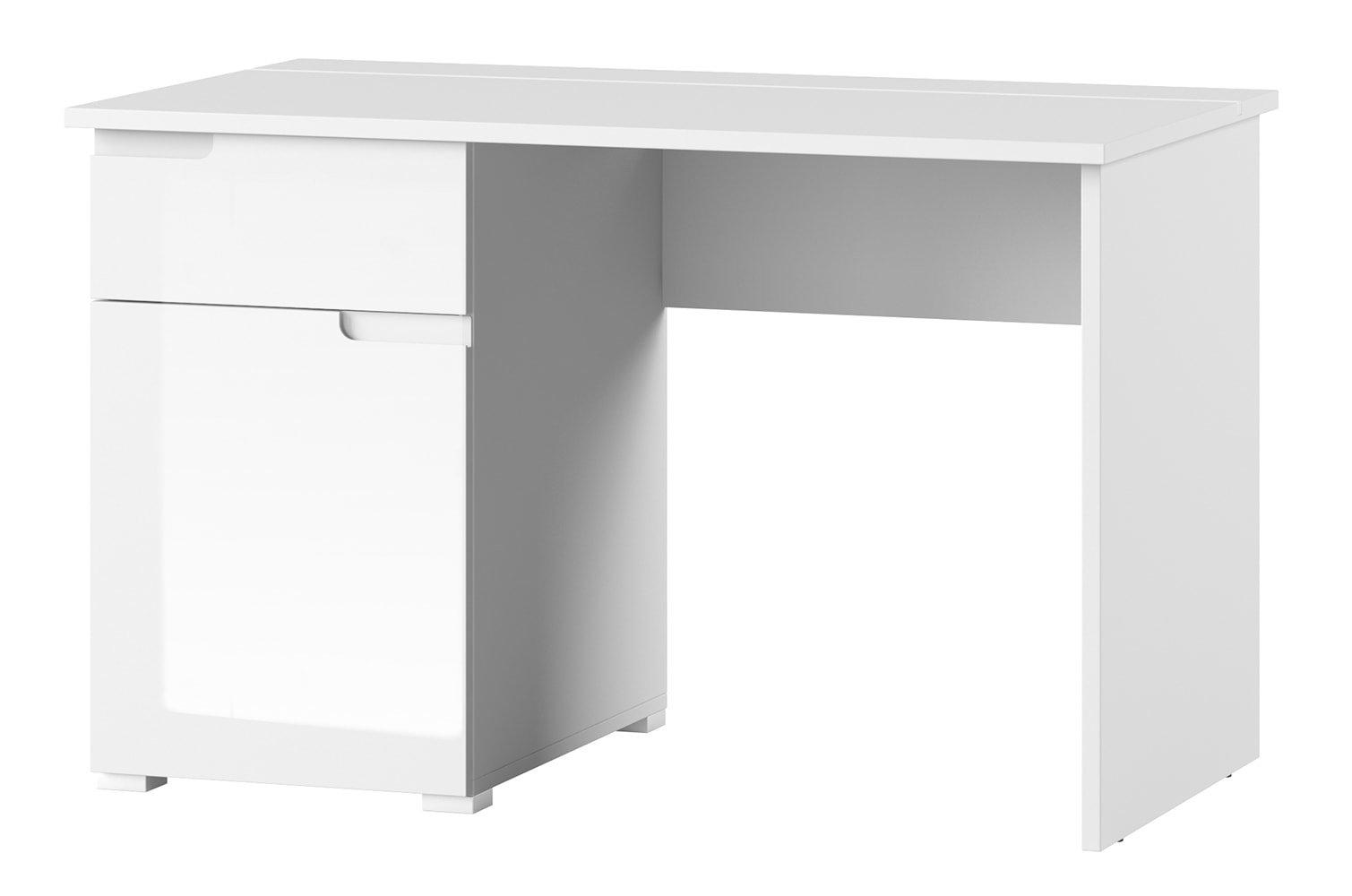 Masa de birou din pal si MDF cu 1 sertar si 1 usa Gabrielle 14 Alb L120xl67xH76 cm