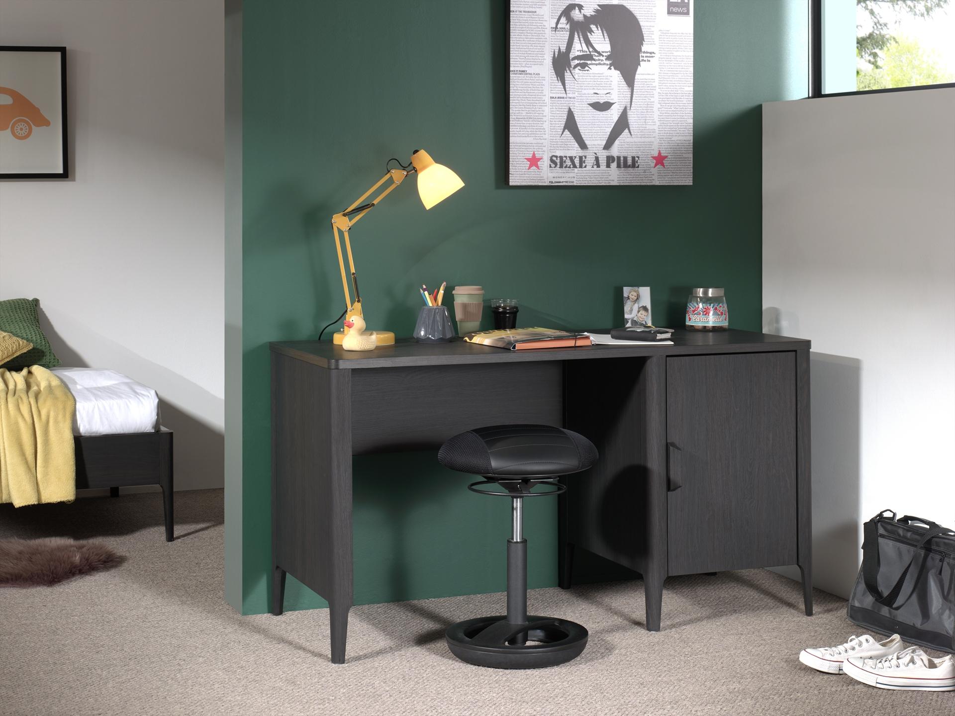 Masa de birou din pal si MDF, cu 1 usa pentru copii Azalea Antracit, L137xl59xH75,5 cm imagine