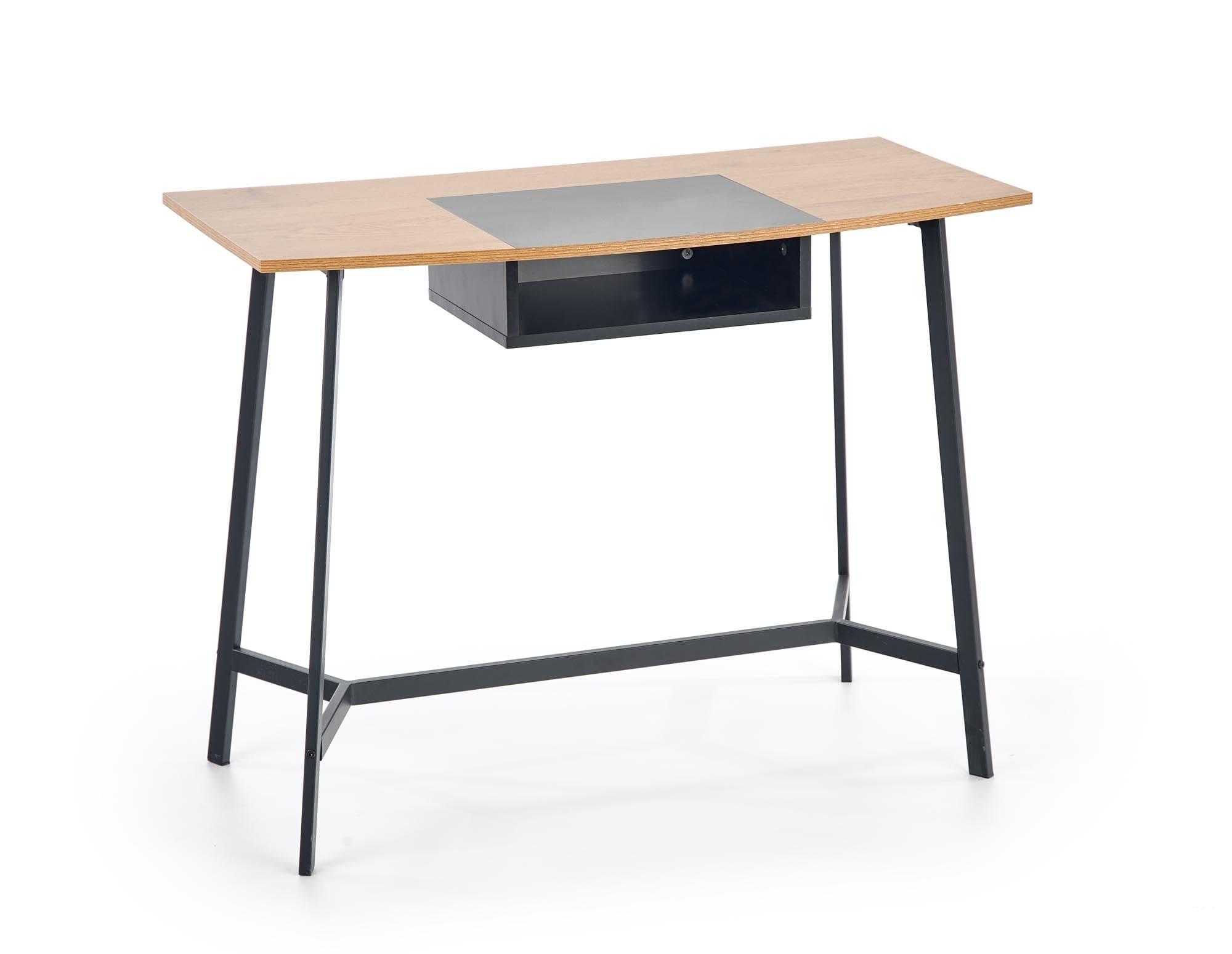 Masa de birou din pal si metal B-41 Stejar / Negru, L100xl50xH76 cm imagine