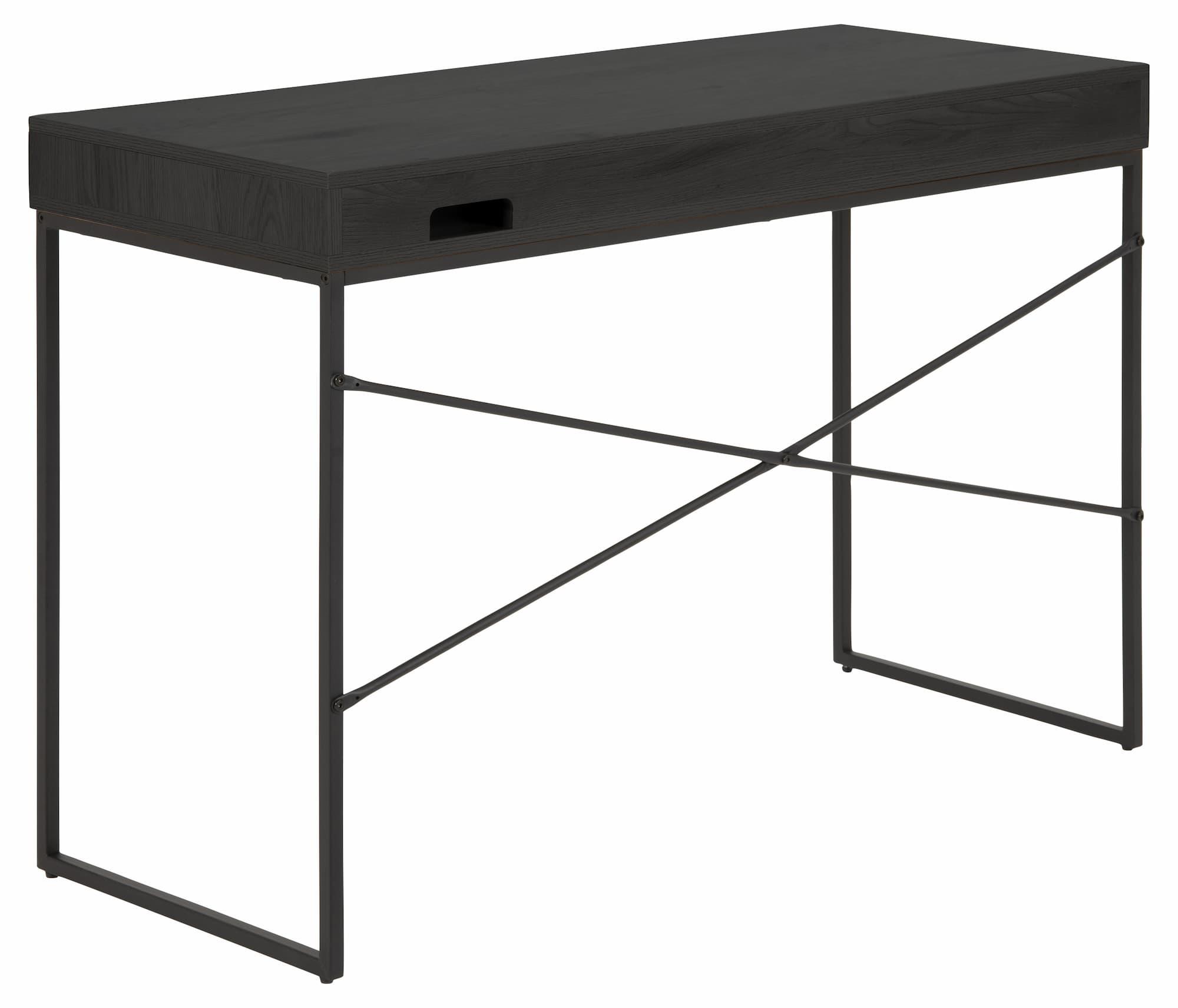 Masa de birou din pal si metal cu 1 sertar Seaford Grafit / Negru, L110xl45xH75 cm imagine