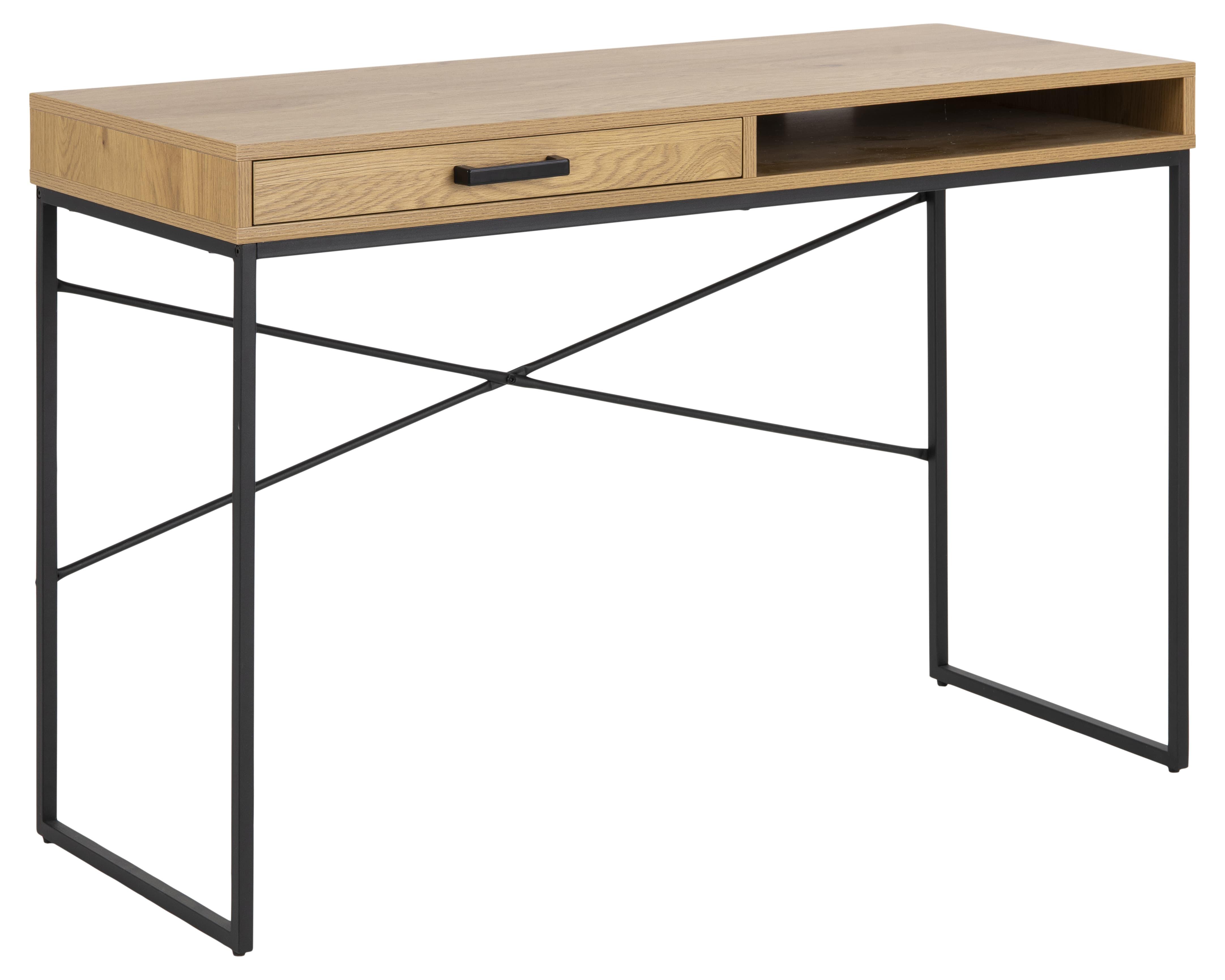 Masa de birou din pal si metal cu 1 sertar Seaford Stejar / Negru, L110xl45xH75 cm imagine