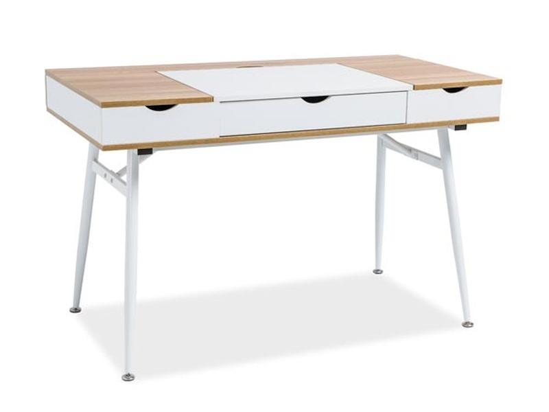 Masa de birou din pal si metal, cu 3 sertare B-151 Stejar / Alb, L120xl60xH76 cm