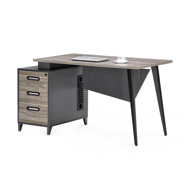 Masa de birou din pal si metal cu 3 sertare Business Grafit L140xl70xH75 cm