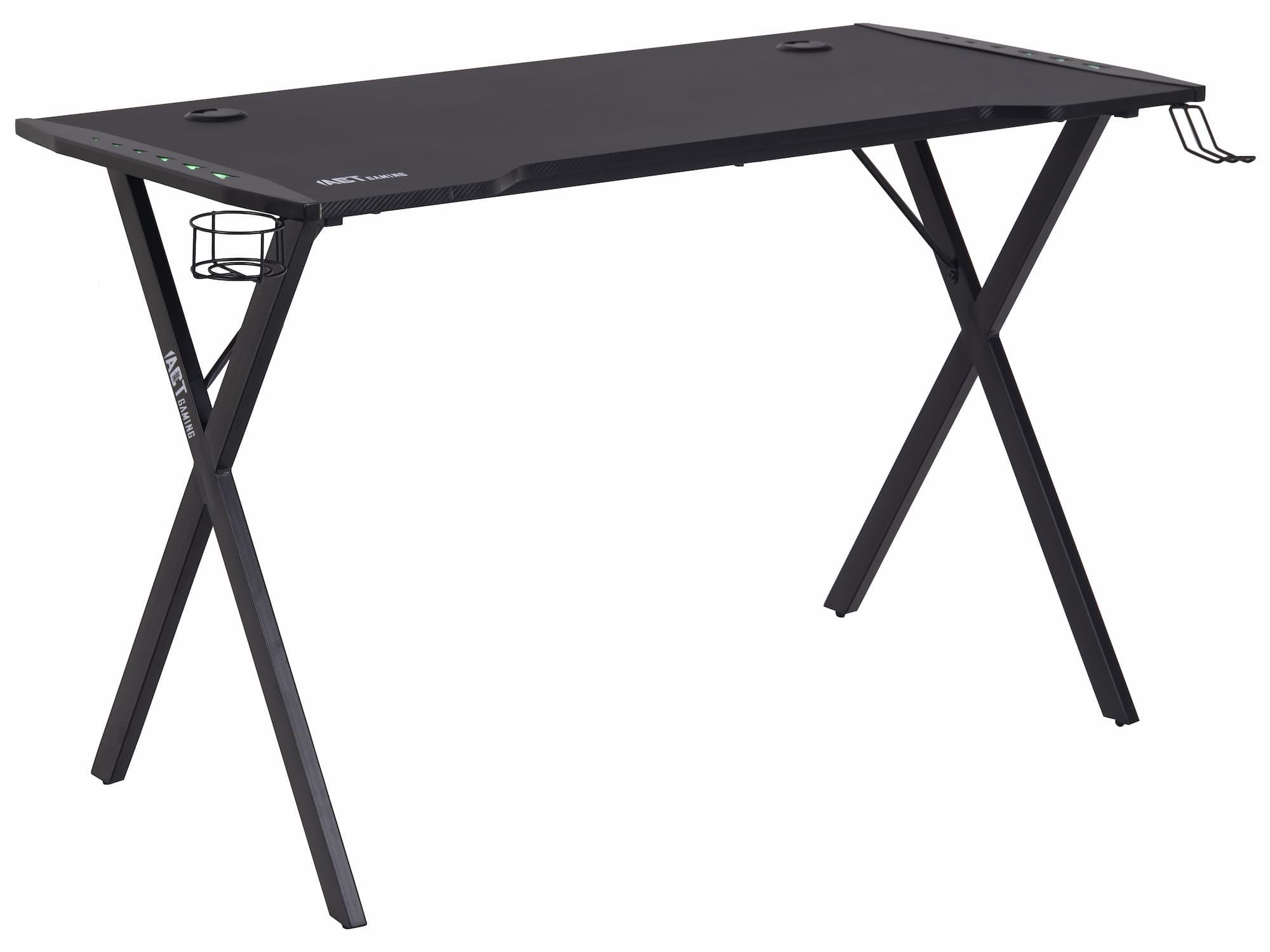 Masa de birou din pal si metal, cu LED inclus, Elijah Negru, L120xl60xH75 cm imagine