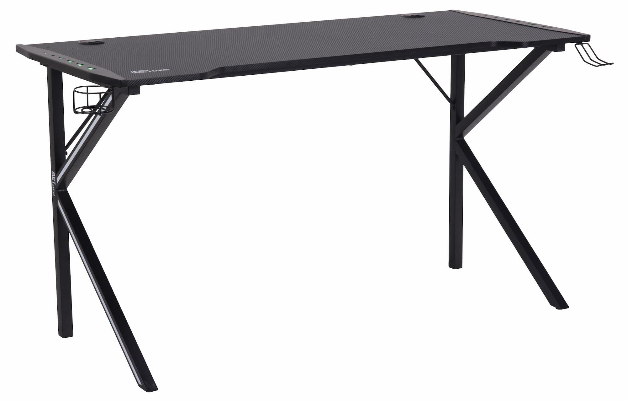 Masa de birou din pal si metal, cu LED inclus, Ninja Negru, L140xl60xH75 cm imagine