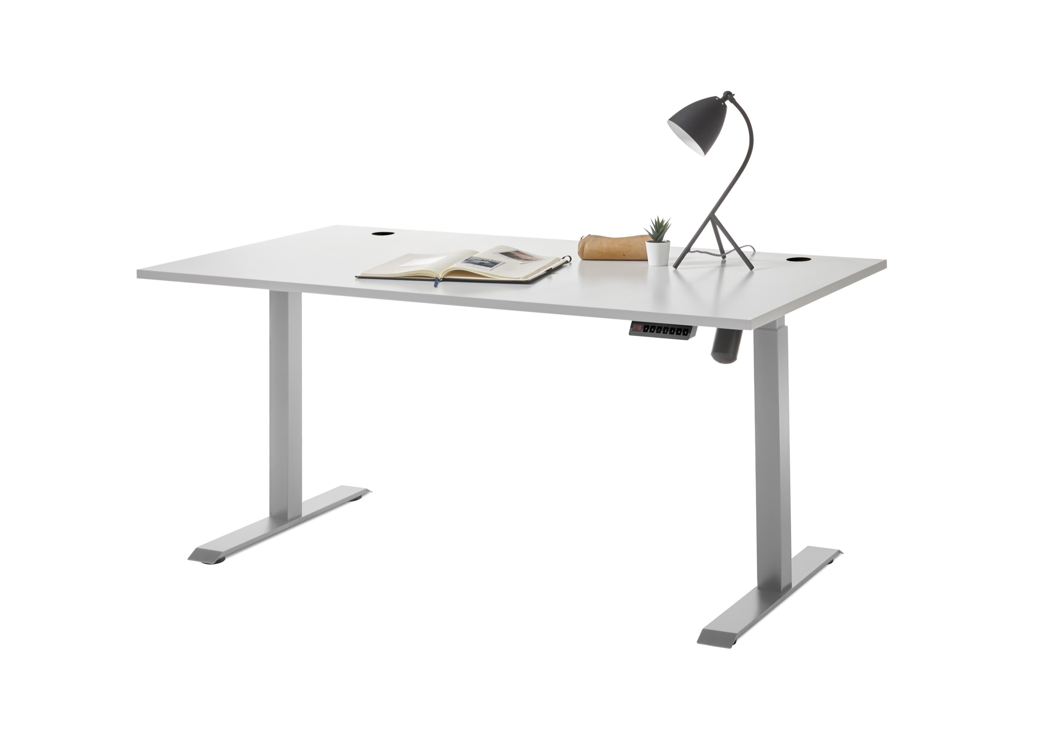 Masa de birou din pal si metal, cu reglaj electric pe inaltime Prato Gri deschis, L160xl77xH72-120 cm imagine