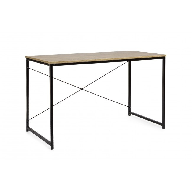 Masa de birou din pal si metal Elettra Natural / Negru L120xl60xH70 cm