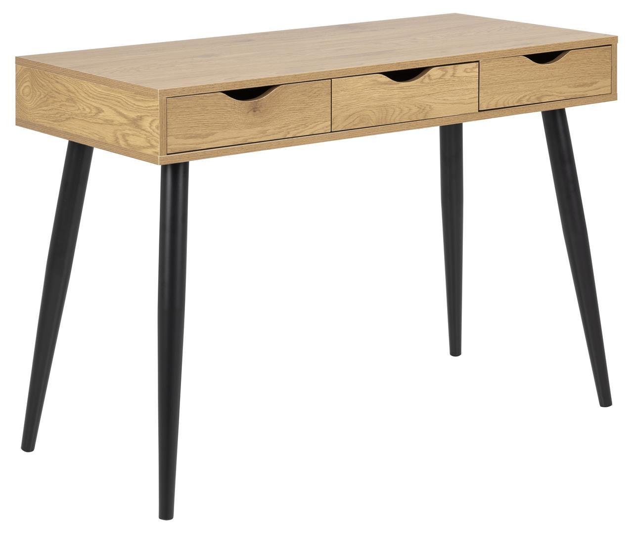 Masa de birou din pal si metal Neptun Stejar / Negru, L110xl50xH77,1 cm imagine