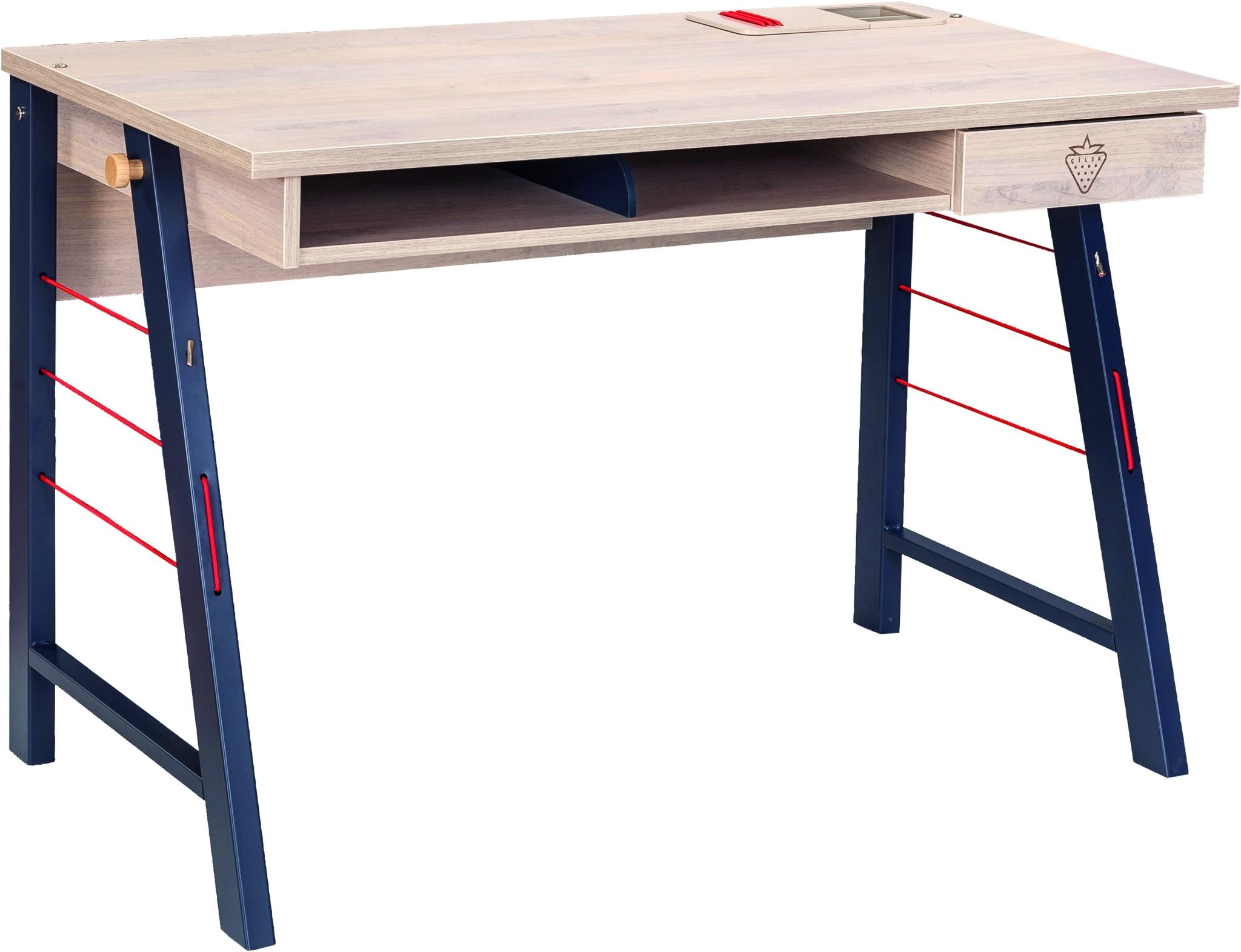 Masa de birou din pal si metal pentru tineret, baieti 12-24 ani, Trio Natur / Blue, l114xA64xH76 cm imagine