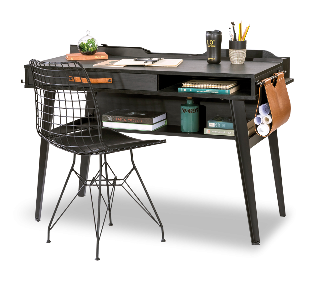 Masa de birou din pal si metal pentru tineret Dark Metal Black / Graphite L114xl62xH80 cm