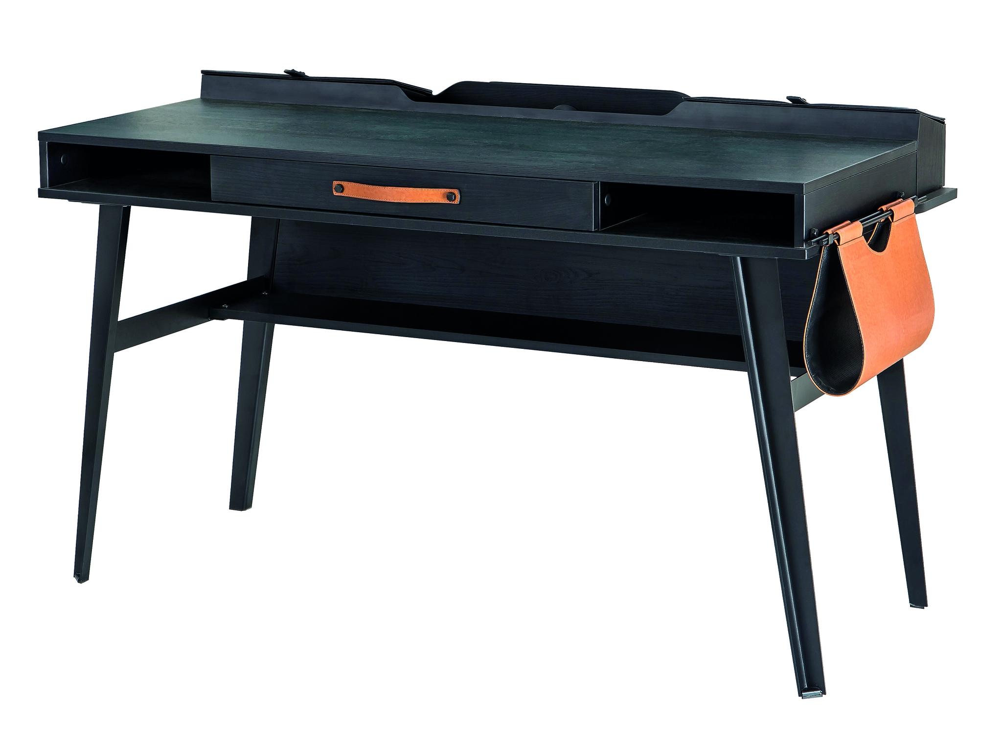 Masa de birou din pal si metal pentru tineret Dark Metal Black / Graphite L134xl62xH80 cm