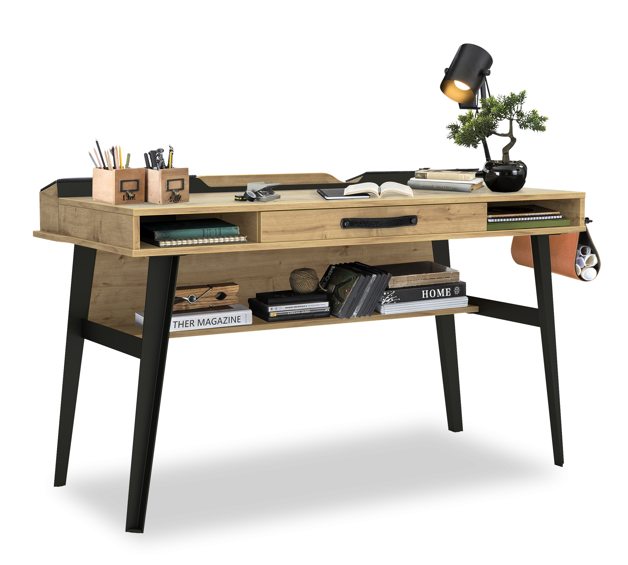 Masa de birou din pal si metal, pentru tineret Wood Metal Large Natural / Negru, L134xl62xH80 cm imagine