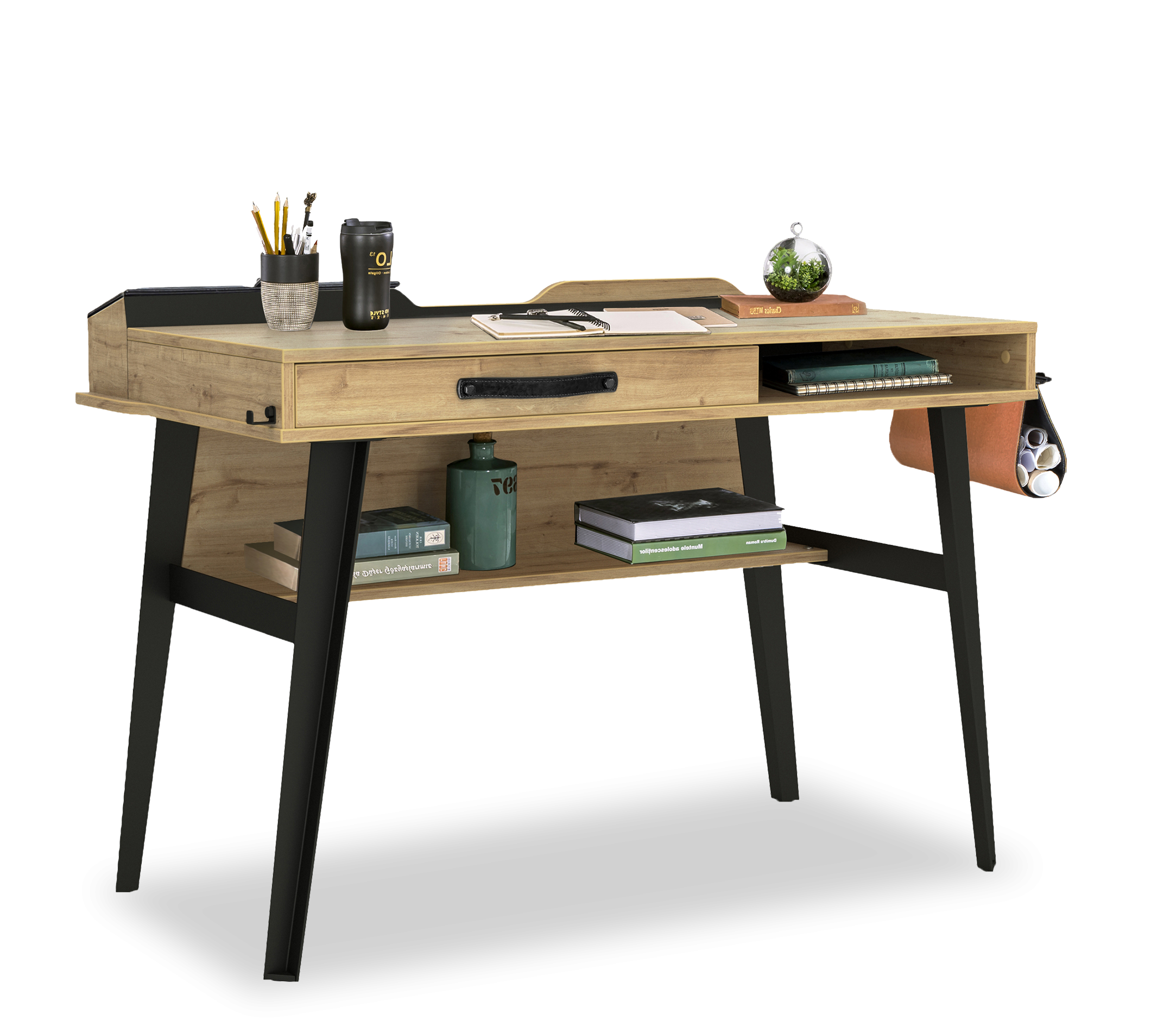 Masa de birou din pal si metal, pentru tineret Wood Metal Small Natural / Negru, L114xl62xH80 cm