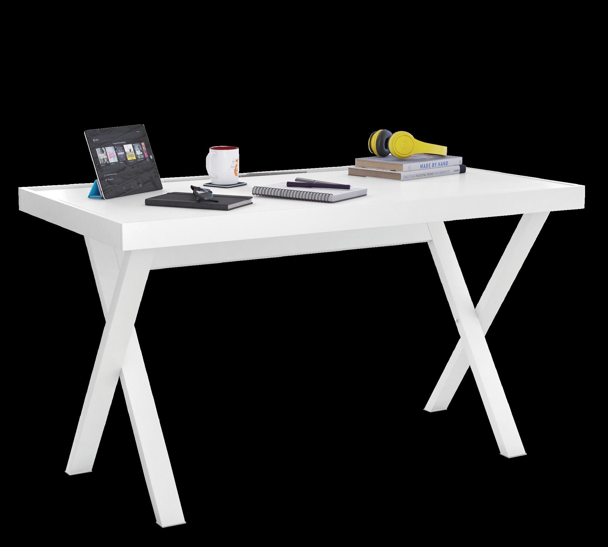 Masa de birou din pal si metal, pentru tineret Young Alb, L130xl70xH75,5 cm imagine
