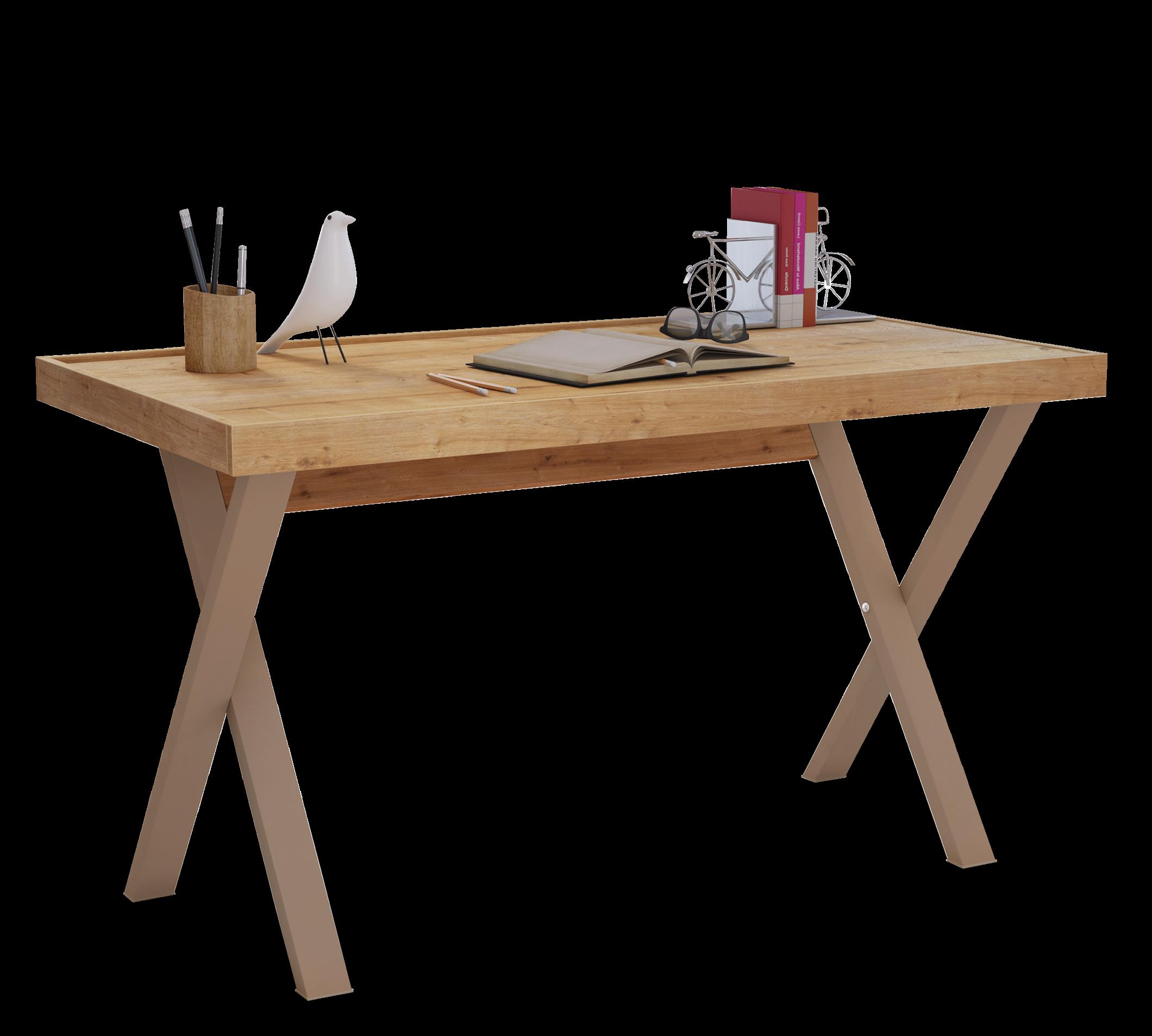 Masa de birou din pal si metal, pentru tineret Young Stejar, L130xl70xH75,5 cm imagine
