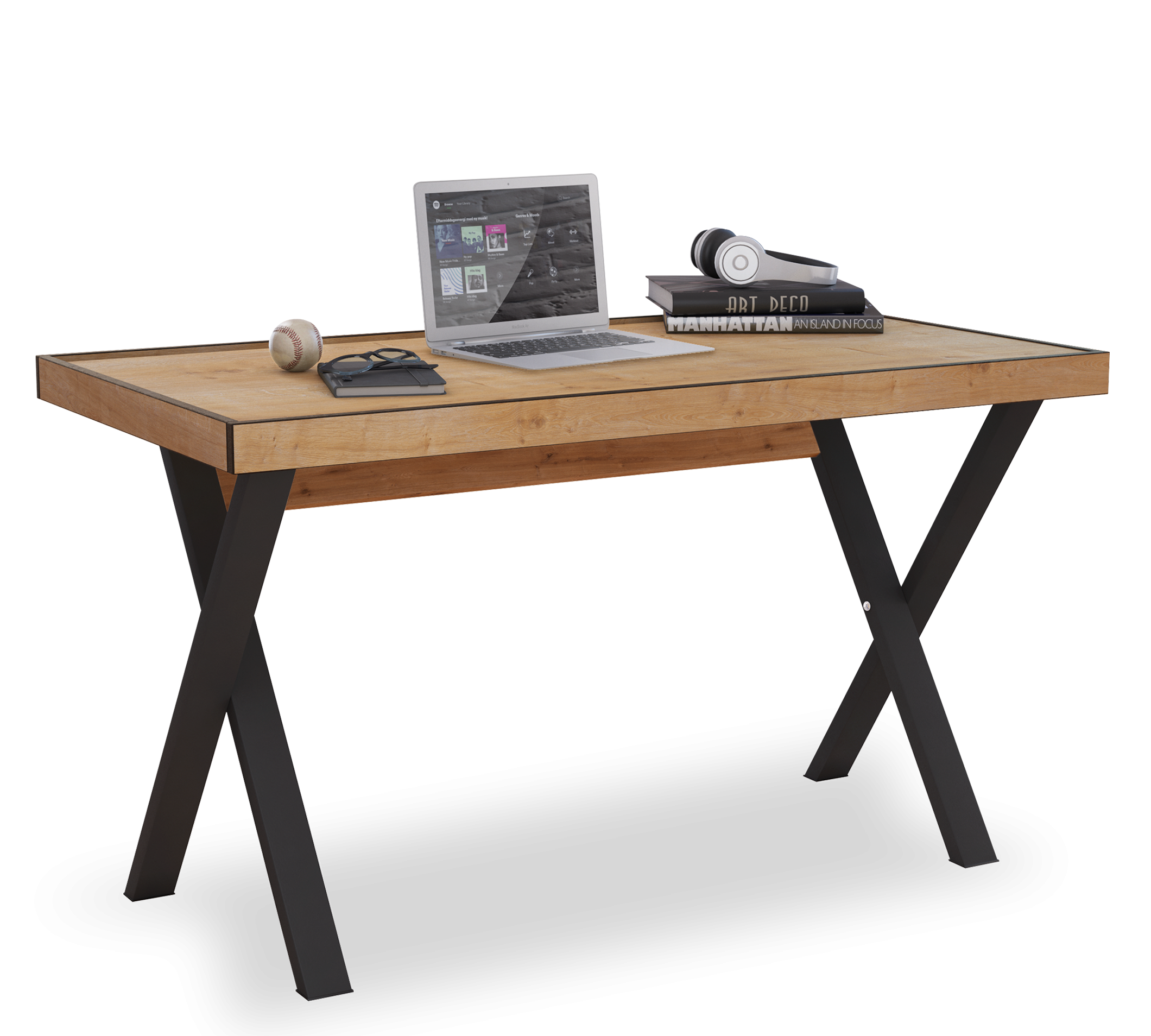 Masa de birou din pal si metal, pentru tineret Young Stejar / Negru, L130xl70xH75,5 cm imagine
