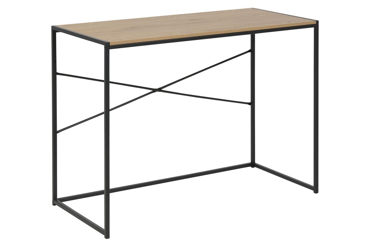 Masa de birou din pal si metal Seaford Stejar / Negru, L100xl45xH75 cm poza