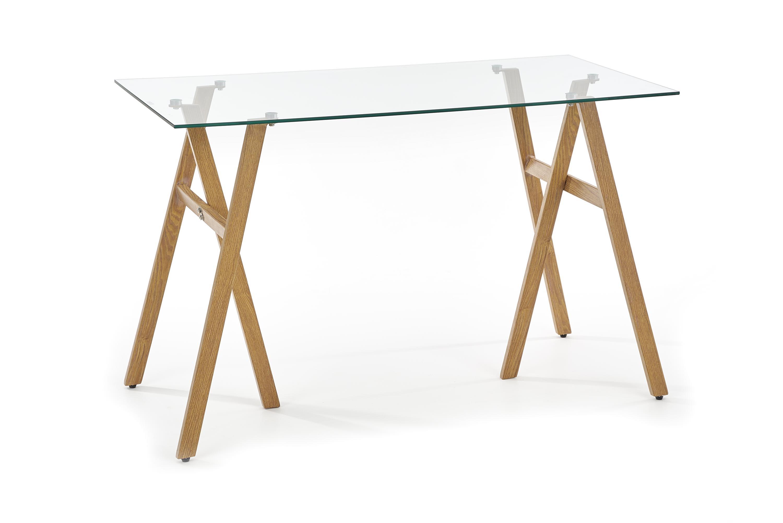 Masa de birou din sticla si metal B-35 Transparent / Stejar, L120xl60xH76 cm
