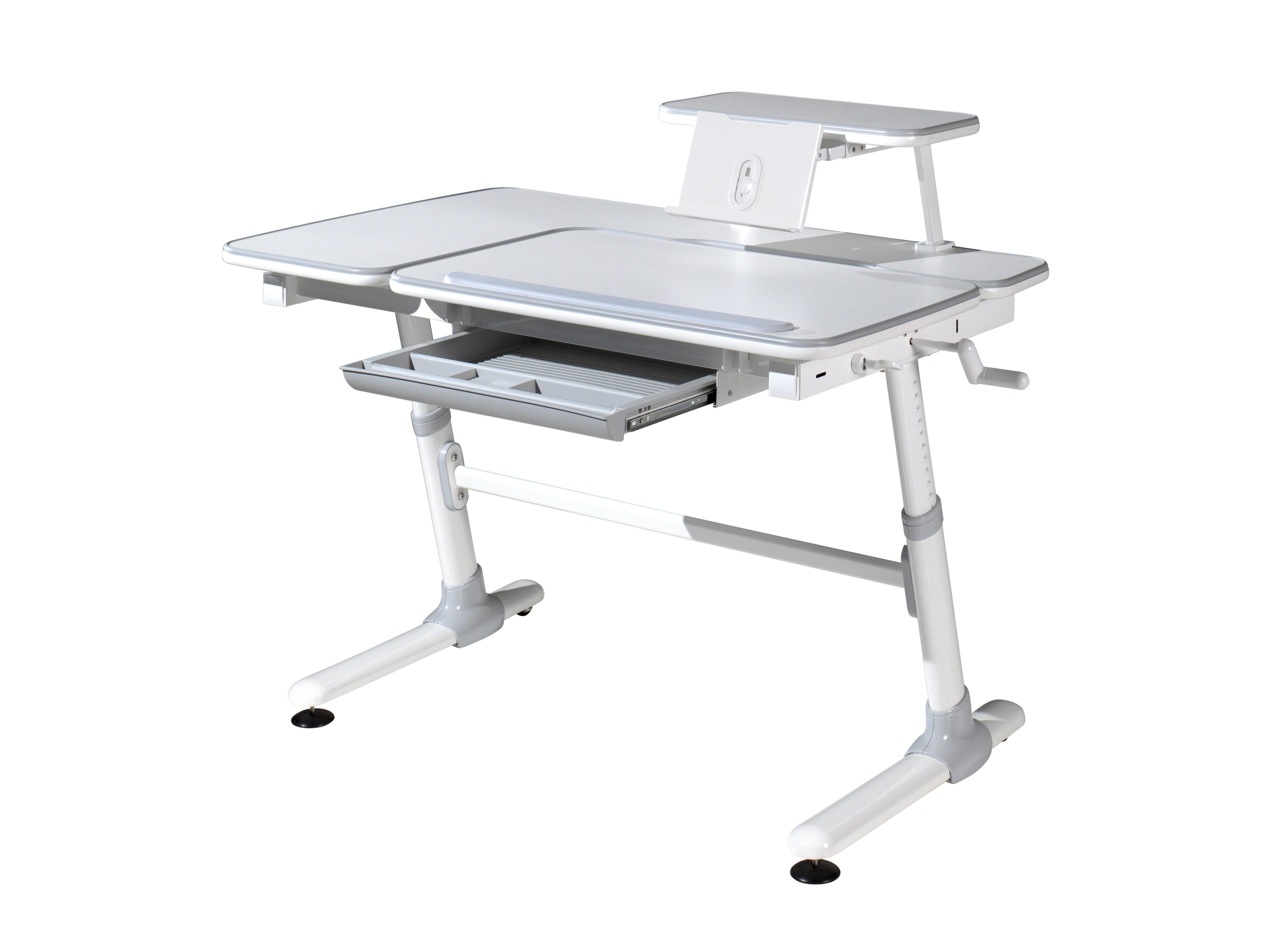 Masa de birou ergonomica cu suport tableta, pentru copii Comfortline Alb / Gri, L119xl73xH56-80 cm imagine