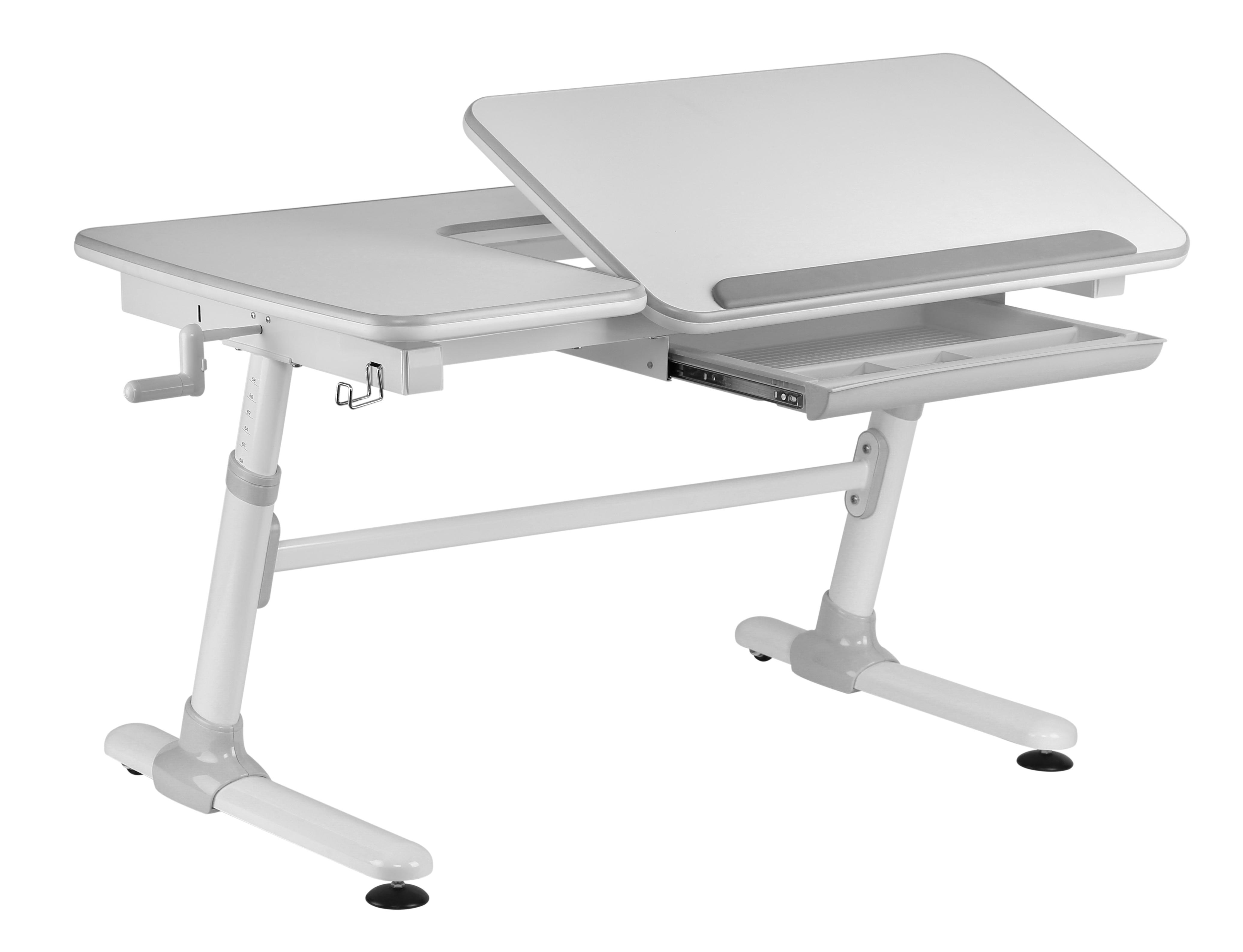 Masa de birou ergonomica, din plastic si metal, pentru copii Comfortline Alb / Gri, L119xl73xH56-80 cm imagine