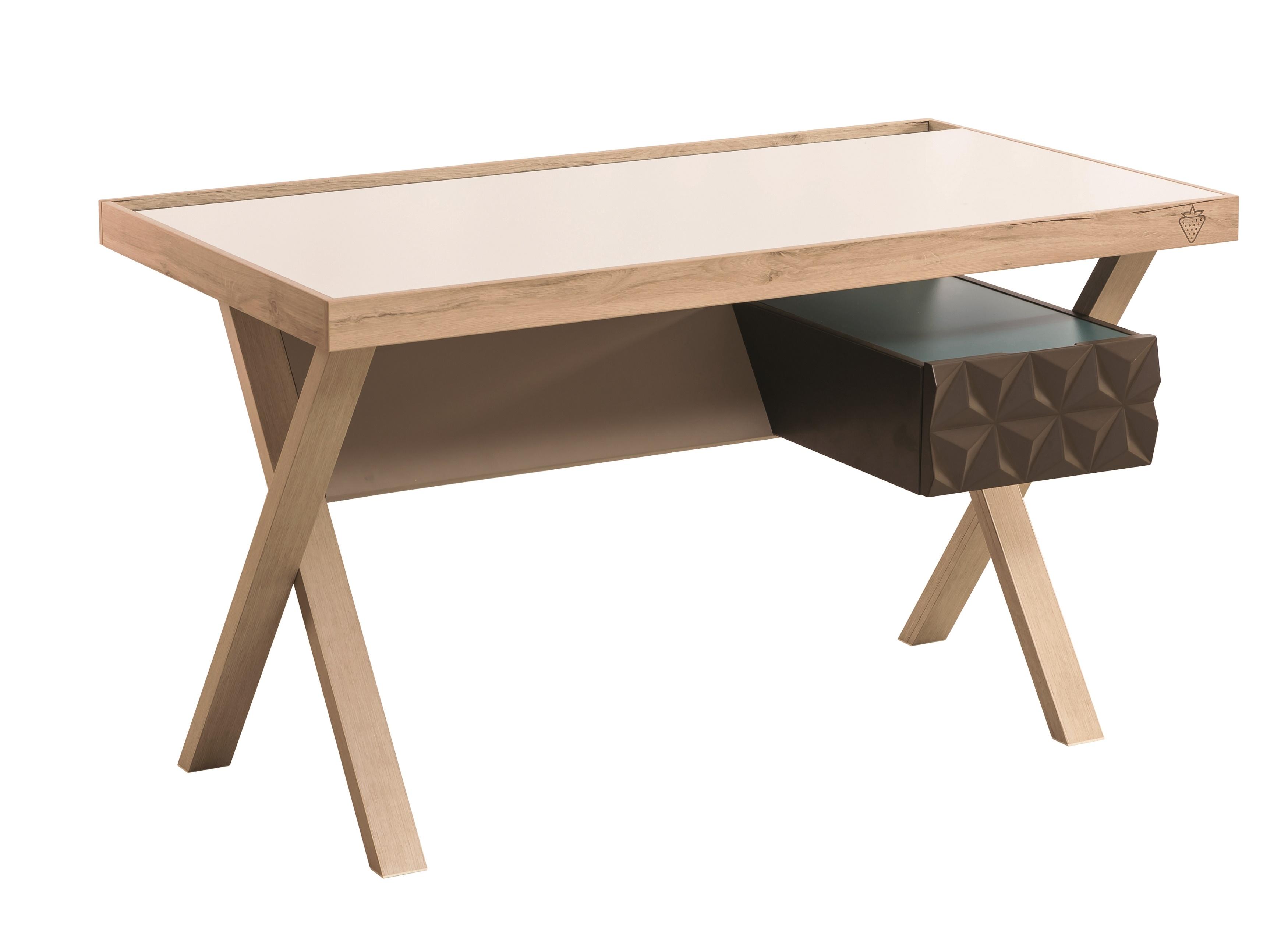 Masa de birou din pal pentru tineret Lofter Cream / Brown L130xl70xH76 cm
