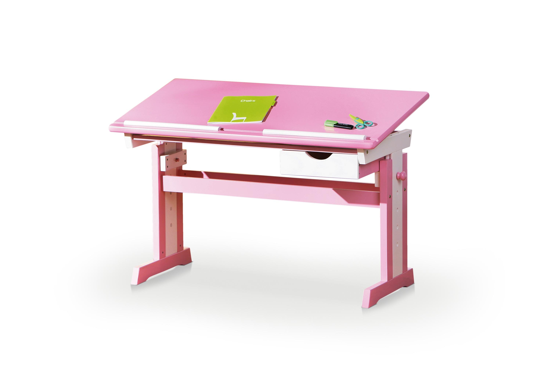 Masa de birou pentru copii, din MDF si lemn Cecilia Pink / White, L109xl55xH62-88 cm