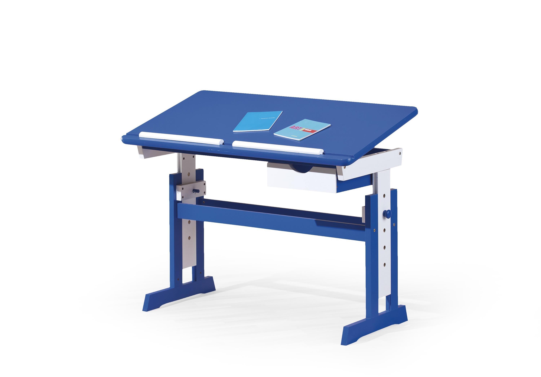 Masa de birou pentru copii din MDF si lemn Paco Blue / White L109xl55xH65-93 cm