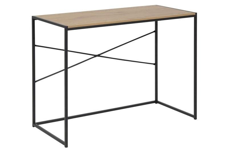 Masa de birou din MDF si metal Seaford Oak / Black L100xl45xH75 cm