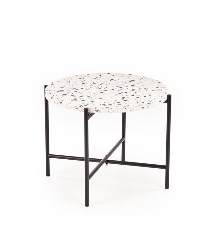 Masa de cafea din compozit si metal Lastrico Alb / Negru, Ø50xH40 cm