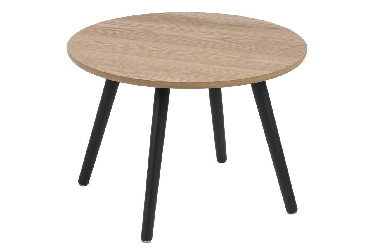 Masa de cafea din furnir si lemn Stafford Natural / Negru, Ø50xH36 cm