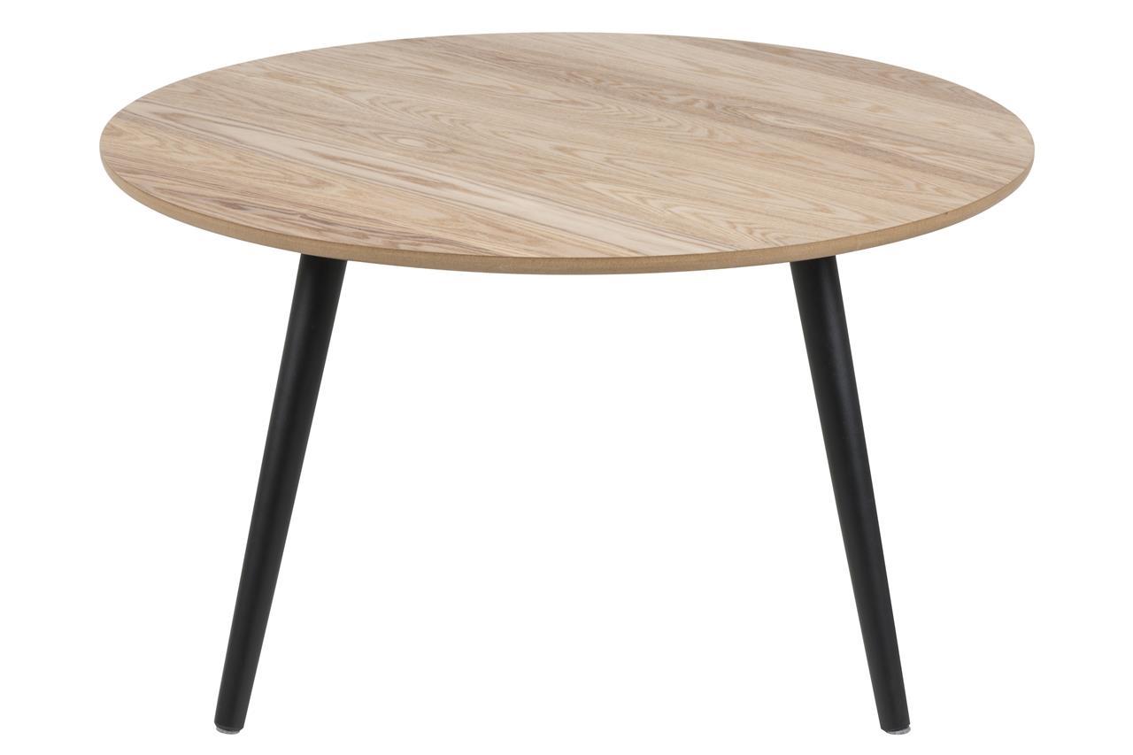 Masa de cafea din furnir si lemn Stafford Natural / Negru, Ø80xH45 cm poza