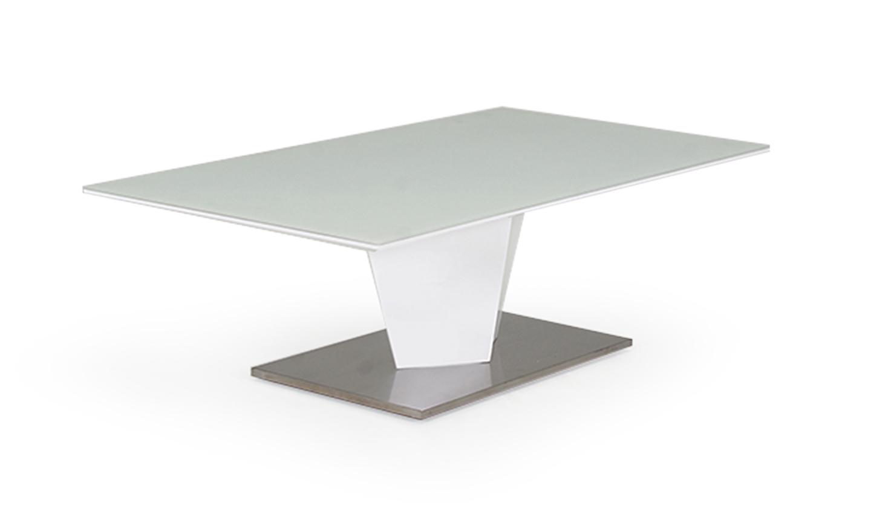 Masa de cafea din furnir si sticla Essence White L130xl70xH40 cm