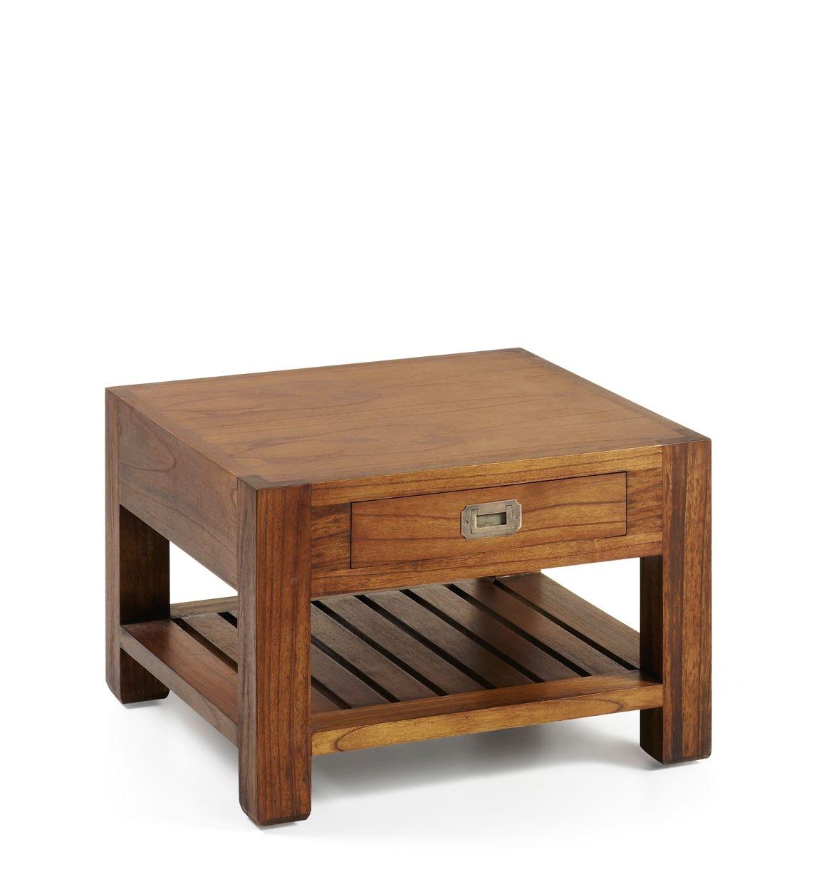 Masa de cafea din lemn, cu 1 sertar Centro Star Square Nuc, L60xl60xH40 cm imagine