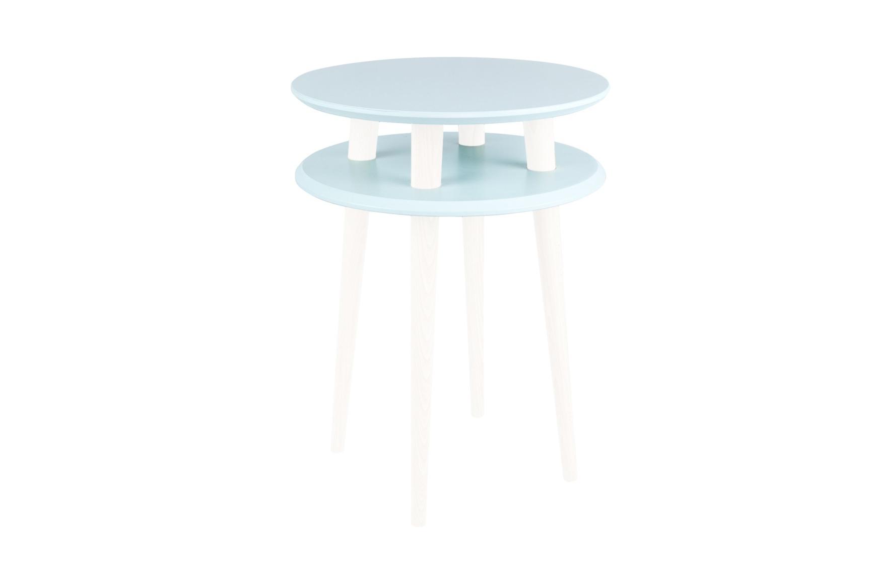 Masa de cafea din lemn de fag si MDF Ufo High Light Turquoise / White O45xH61 cm