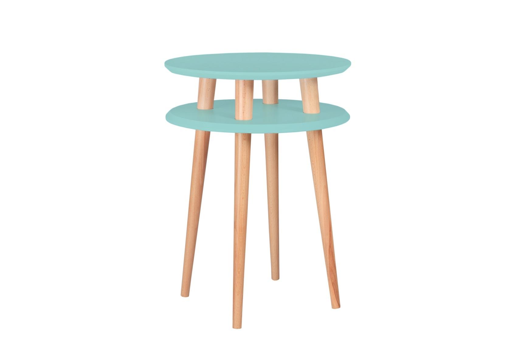 Masa de cafea din lemn de fag si MDF Ufo High Mint / Beech O45xH61 cm
