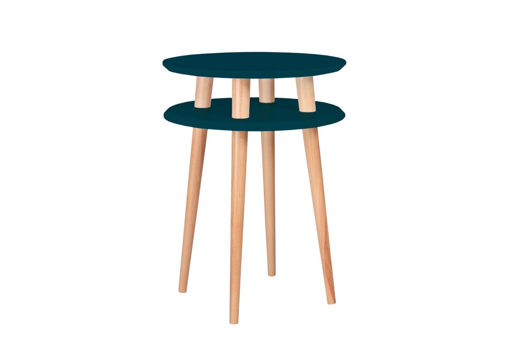 Masa de cafea din lemn de fag si MDF Ufo High Petrol Blue / Beech O45xH61 cm