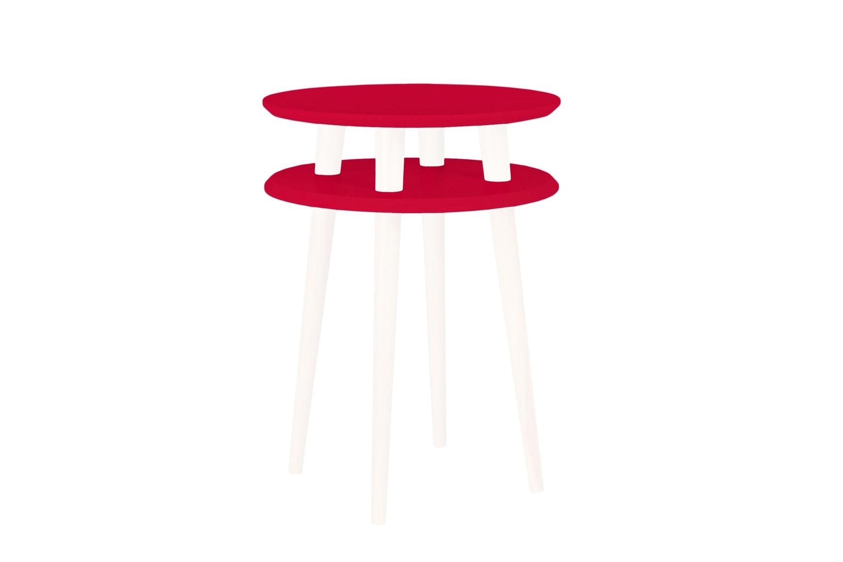 Masa de cafea din lemn de fag si MDF Ufo High Red / White O45xH61 cm