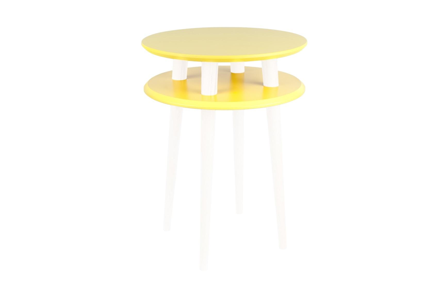 Masa de cafea din lemn de fag si MDF Ufo High Yellow / White O45xH61 cm