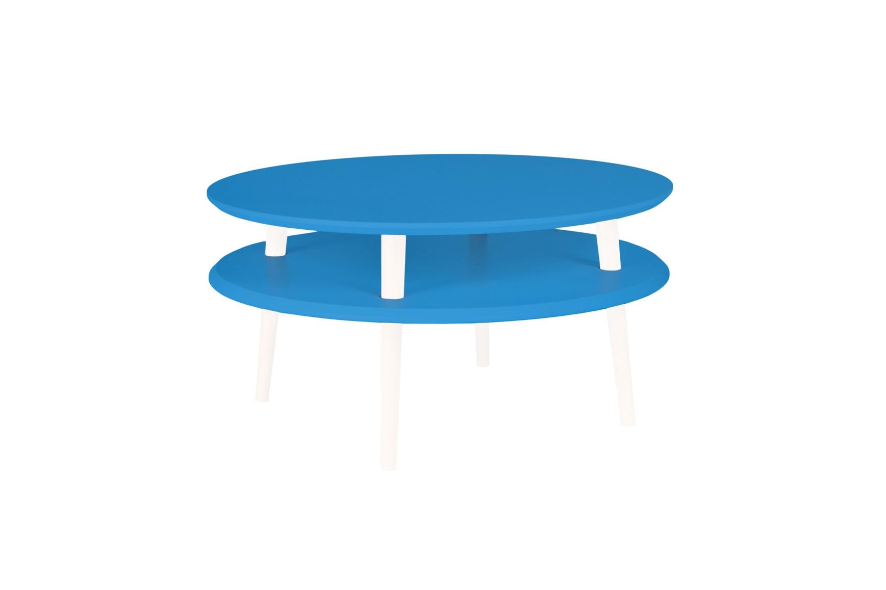 Masa de cafea din lemn de fag si MDF Ufo Low Sky Blue / White O70xH35 cm