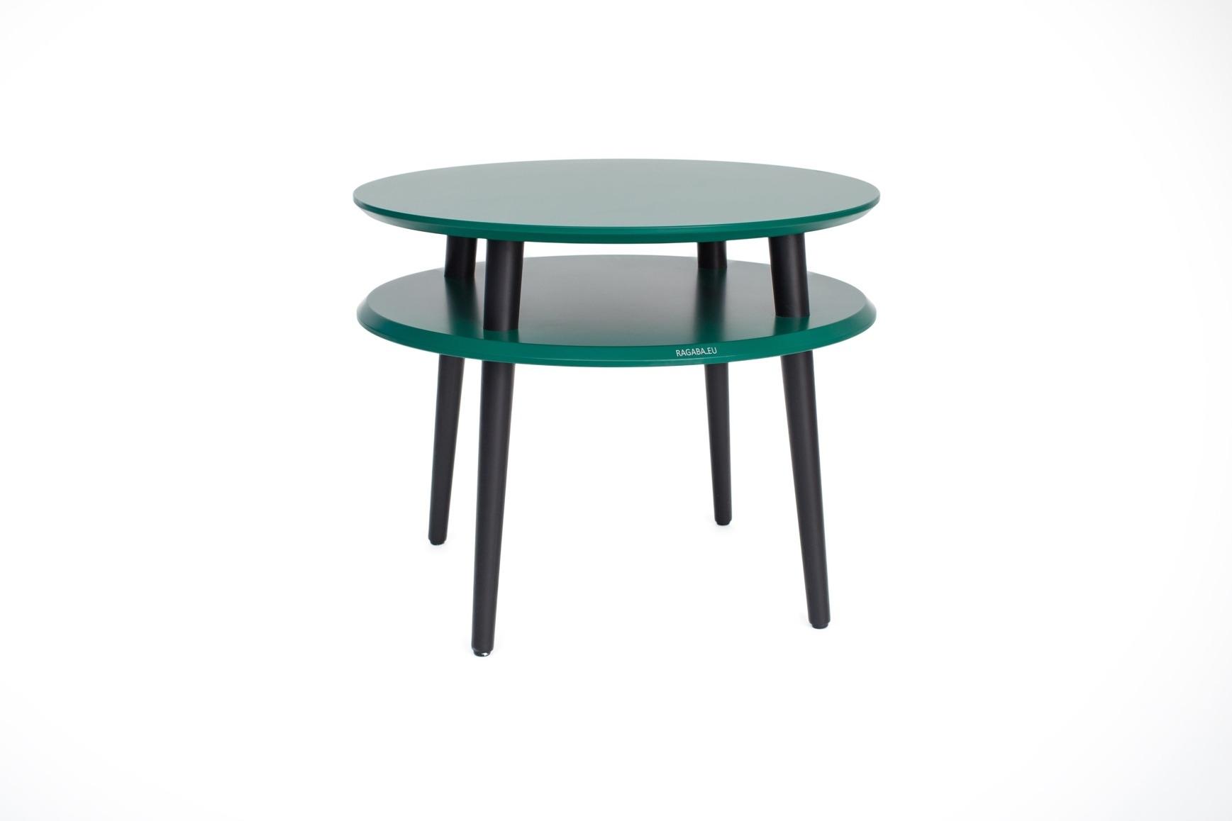 Masa de cafea din lemn de fag si MDF Ufo Medium Dark Green / Black O57xH45 cm
