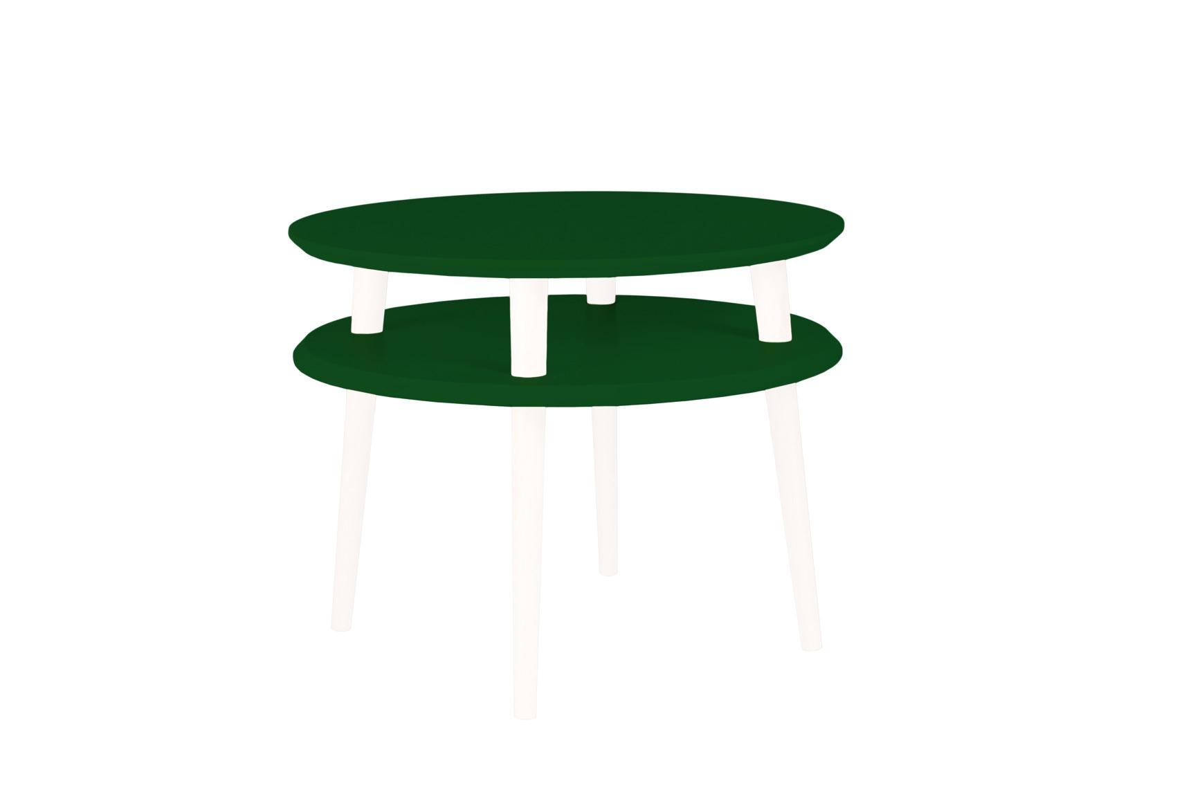 Masa de cafea din lemn de fag si MDF Ufo Medium Dark Green / White O57xH45 cm