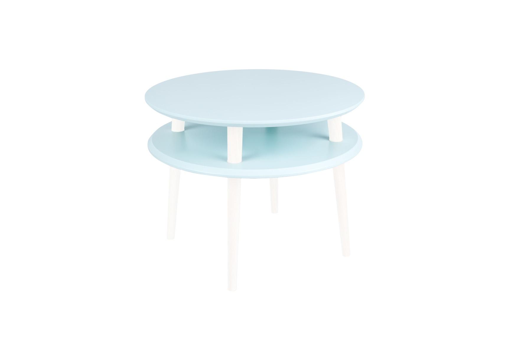 Masa de cafea din lemn de fag si MDF Ufo Medium Light Turquoise / White O57xH45 cm