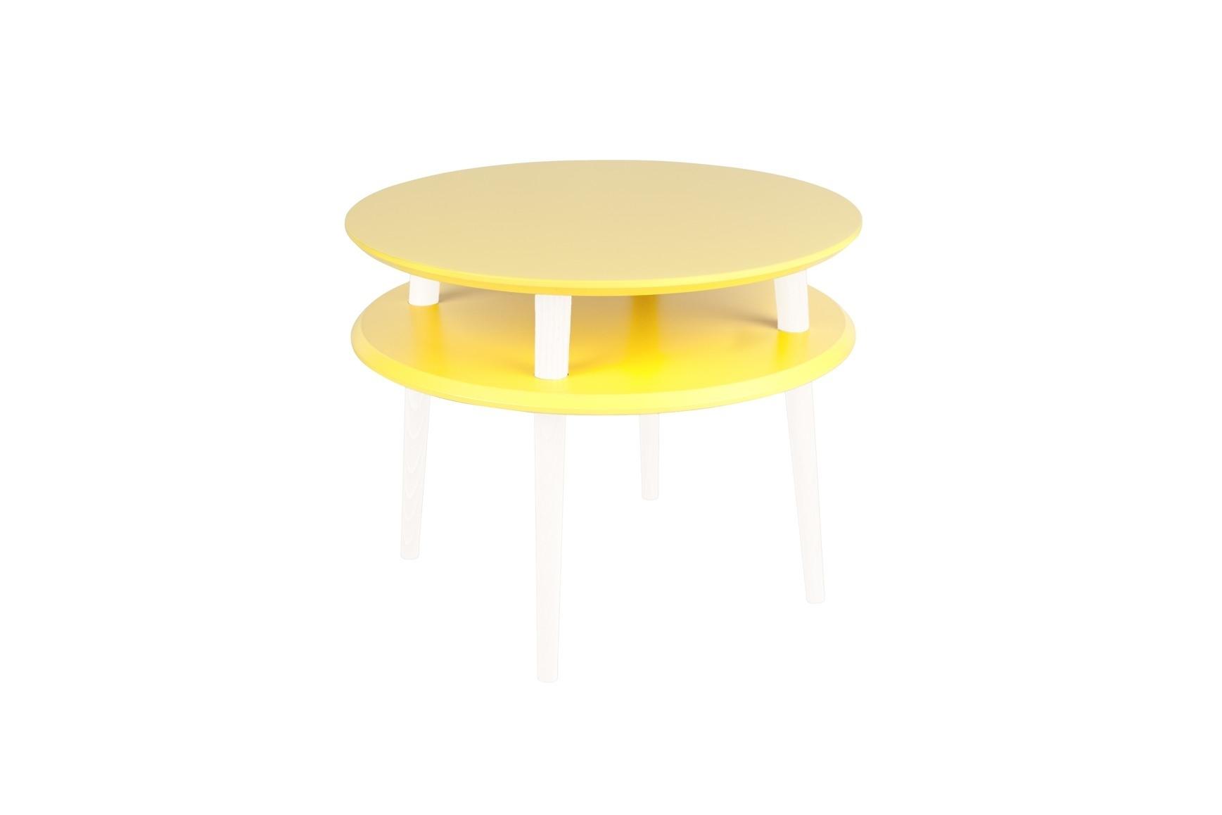 Masa de cafea din lemn de fag si MDF Ufo Medium Yellow / White O57xH45 cm