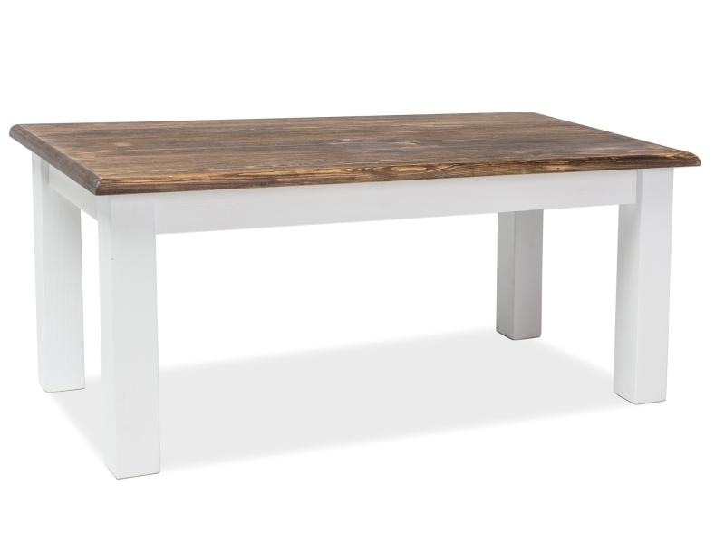 Masa de cafea din lemn de pin Poprad Alb / Maro inchis, L120xl60xH52 cm poza