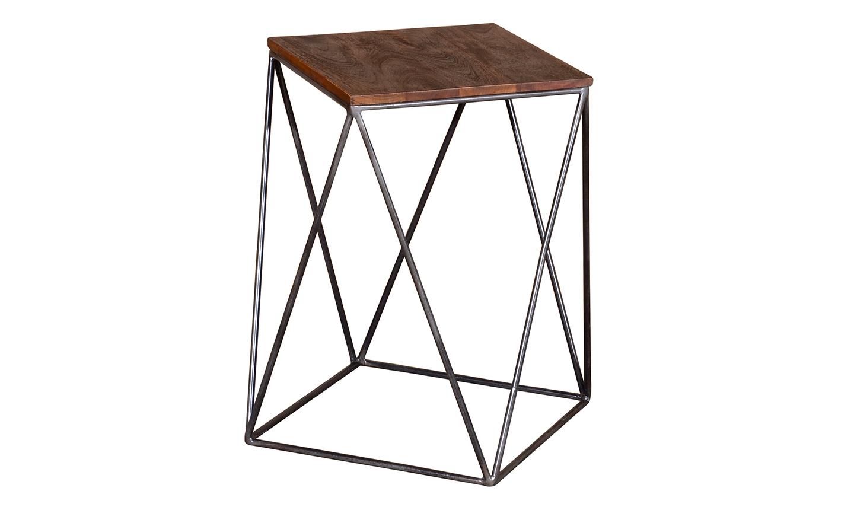 Masa de cafea din lemn de salcam si metal Fes Natural L36xl36xH56 cm