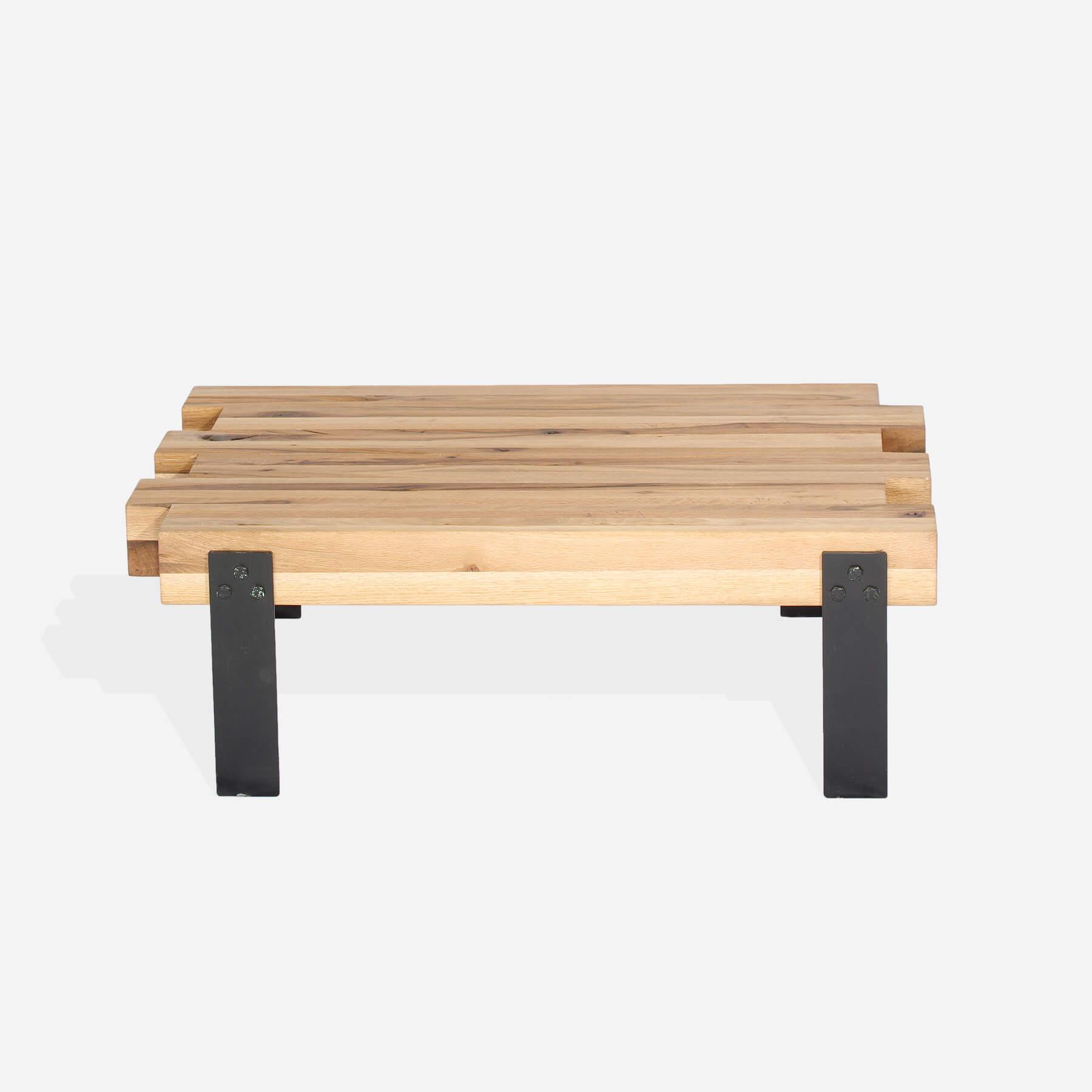 Masa de cafea din lemn de stejar salbatic, cu picioare metalice Koln, L120xl72xH40 cm